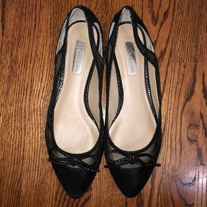 Snakeskin and mesh pointed flats